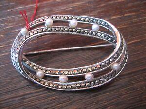grosse-elegante-Art-Deco-Markasit-Brosche-mit-Perlen-925er-Silber-TOP-Zustand