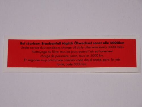 Air cleaner sticker Flat VW Beetle and VW Type 2