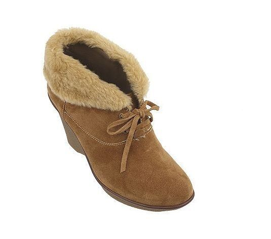 NEU B Makowsky NELLIE Suede Lace-Up Booties Stiefel w/ Faux Fur Trim Tan 9.5