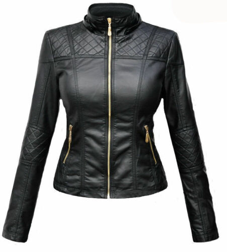 Femmes Designer Motard Moto Veste Cuir Peau D'agneau Slim TOCTAqw