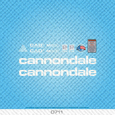 0968 Cannondale Fatty Bicycle Stickers Decals Transfers White