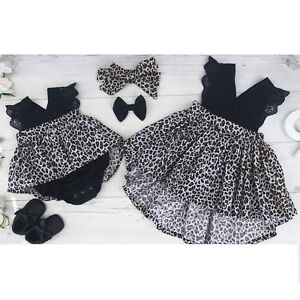 015f8129c1 2pcs Baby Kid Girls Summer Leopard Print Dress Outfits Infant ...