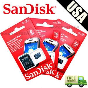 SanDisk-8GB-16GB-32GB-Micro-SD-HC-Class-4-TF-Flash-SDHC-Memory-Card-w-Adapter