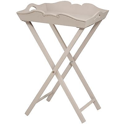 Shabby Chic Style Brittany Wooden Collapsible Butler Tray Portable Table #
