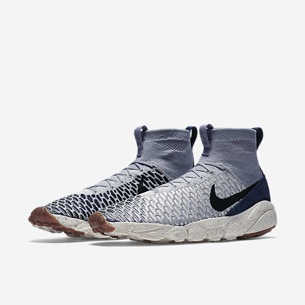 Nike Air Footscape Magista Flyknit size 12.5. Wolf Grey Navy Gum. 816560-001.