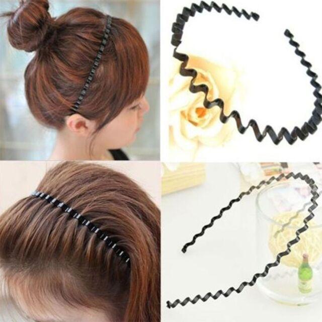 Wavy Unisex Sport Metallic Hot Wave Head Band Hoop Black Hair Accessory