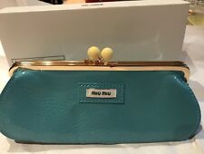 Miu Miu Parfums Blue Small Make Up Cosmetic Clutch Travel Pouch - NEW