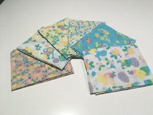 Pastel-Easter-Bunny-Eggs-Flowers-100-Cotton-Fabric-6-Piece-Fat-Quarter-Bundle