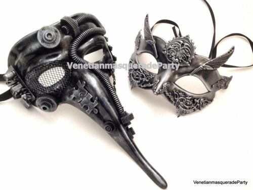 Metallic Doctor Nose Masquerade pair mask steampunk midnight costume prom party
