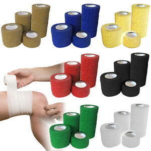 Beige Wrist and Ankle 12 Rolls Self Adhesive Bandage Pet Vet Wrap Elastic Support Bandage for First Aid Sports Cohesive Bandages 7.5cm x 4.5m