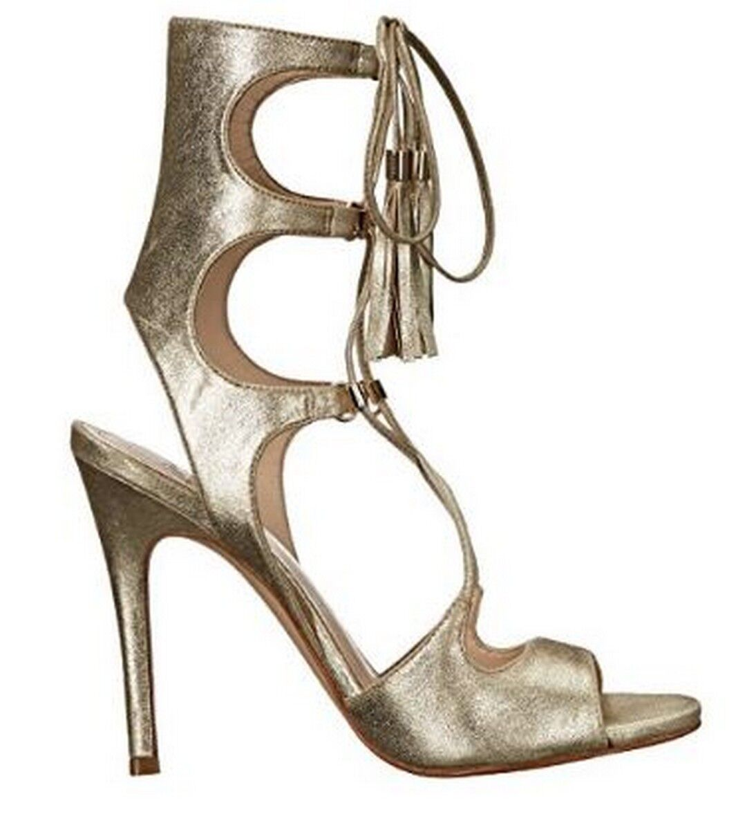 Women's Marc Fisher LARSA Gladiator Heels Dress Sandals Leather Gold