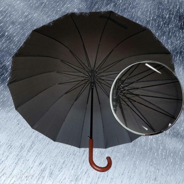 Temperato Ombrello Antivento Nero Large 54 Pollici Aperto Automatico Per 2 Persone Tempesta Per Cancellare Il Fastidio E Per Estinguere La Sete