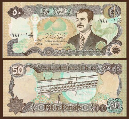Saddam Hussein woman with bowl on head // bridge on Tigris 50 Dinar Iraq P83