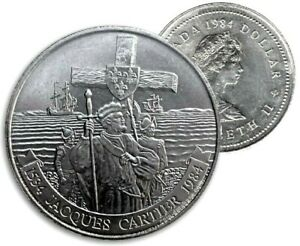 Canada-1984-Jacques-Cartier-UNC-MS-BU-Dollar-From-Original-Mint-Roll