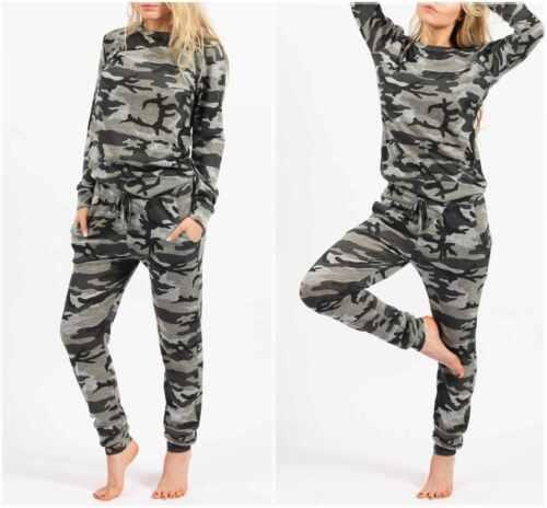 Damen-Frauen Armee Tarnmuster Aufdruck 2-tlg Trainingsanzug Lounge Anzug 8-24