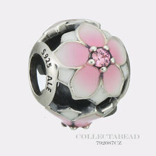 Authentic Pandora Silver Magnolia Enamel & Pink CZ Bead 792087PCZ *SPRING 2017