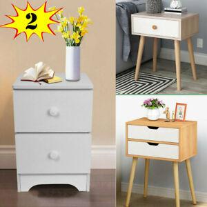 Lot-US-Assemble-Storage-Cabinet-Bedroom-Bedside-Locker-Double-Drawer-Nightstand