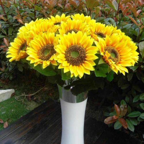 Decor Artificial Sunflower Silk Fake Flower Bouquet Wedding Home Floral Decor