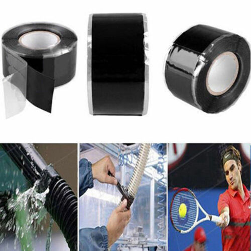 300cm Black Rubber Silicone Repair Waterproof Tape Rescue Self Fusing Wire FT