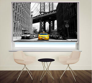 New York Taxi Brooklyn Printed Photo Picture Window Roller