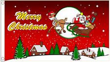 Merry Christmas Santa & Rudolph In The Snow 5'x3' Flag
