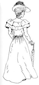 Unmounted-Rubber-Stamps-Old-Fashioned-Lady-Sm-Victorian-Lady-with-Parasol