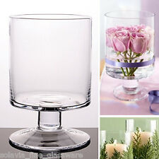 Glass Round Cylinder Candle Holder Yankee Table Vase 14.5 / 10.5 cm