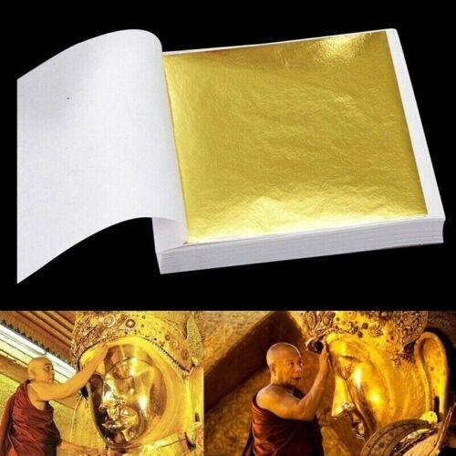 100 Seiten 24K Gold Folien Blatt Essen Kunst Design Rahmen Dekorativ Heim Dekor