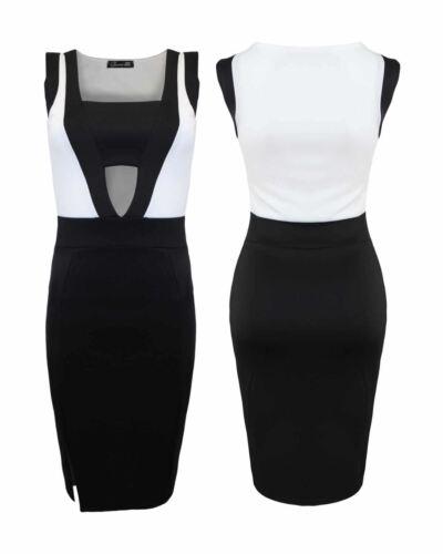 Ladies Women Tank Sleeveless Side Slit Hollow Out Sheath Midi Bodycon Dress Top
