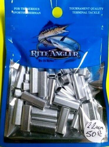 fishing leader line 1 x 400lb 50 x 2.2mm x 18mm pk of rite angler Alum crimps
