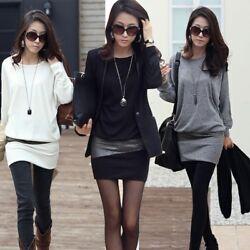 Damen Minikleid Longshirt Kleid Pulli Langarm Tunika Glitzer 36 38 40 42 44