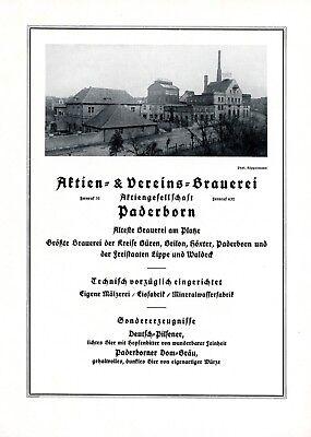Freundlich Aktienbrauerei Paderborn Xl Reklame 1925 Werbung Bier Brauerei + Starke Verpackung
