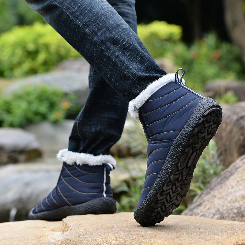 Mens Fur Trim Warm Winter Waterproof Fabric Comfort Flat Snow Ankle Boots shoes