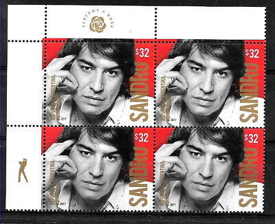 Blocx4,yv 3178 Mnh Removing Obstruction Music Stamps Analytical Argentina 2017 Music Rock Singer Sandro