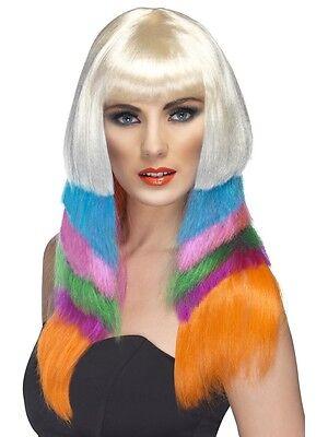 Damen Disco Lady Perücke Neon Starlet bunte Langhaarperücke glatt mehrfarbig neu