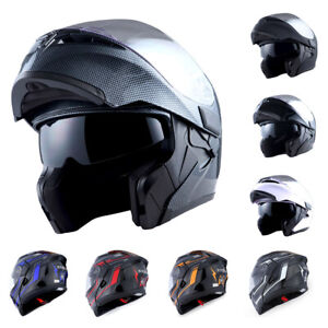 1Storm-Motorcycle-Full-Face-Helmet-Modular-Flip-up-Dual-Shield-Inner-Sun-Visor