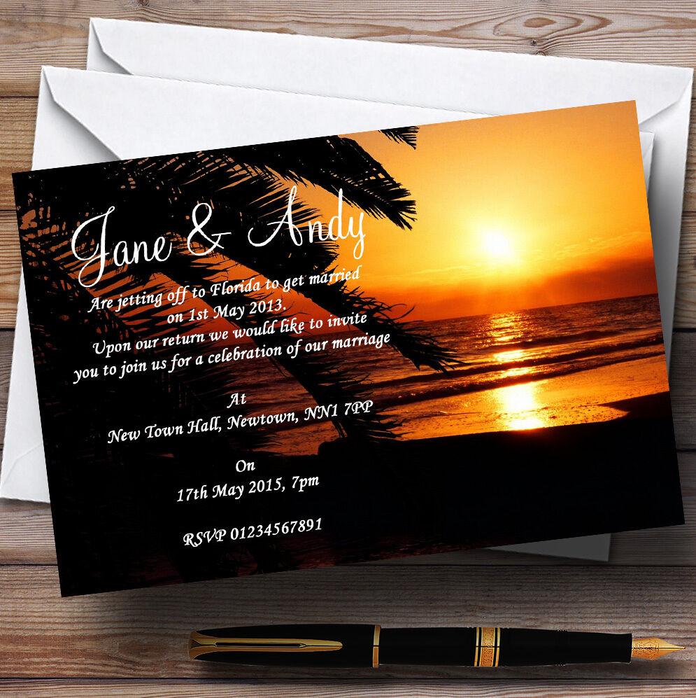 Gorgeous Florida Sunset Beach Personalised Wedding Invitations