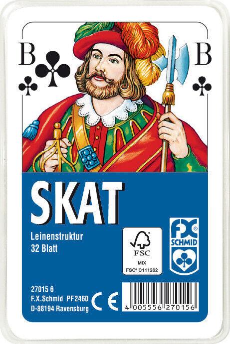50 x 32 Blatt Ravensburger Spielkarten Skat Franz Bild Leinenstruktur Etui 27015