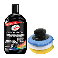 Turtle Wax BLACK Colour Magic Restorer Car Polish 500ml + Applicator Pad Set