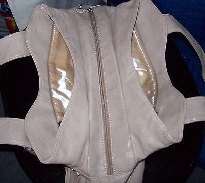 Damen Handtasche, NEU, 5 Fächer mit Zipper, beige, Leder?, Schnallen, Riemen