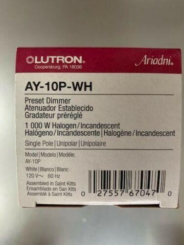 1000 watt Incandescent Dimmer Lutron AY-10P-WH Ariadni