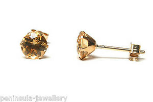 9ct-Gold-Citrine-round-stud-Earrings-Gift-Boxed-Made-in-UK-Christmas-Gift