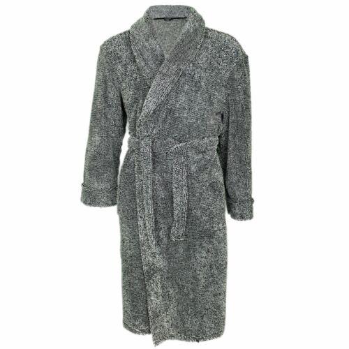 Mens Harvey James Marl Effect Shawl Collar Fleece Dressing Gown Bath Robe