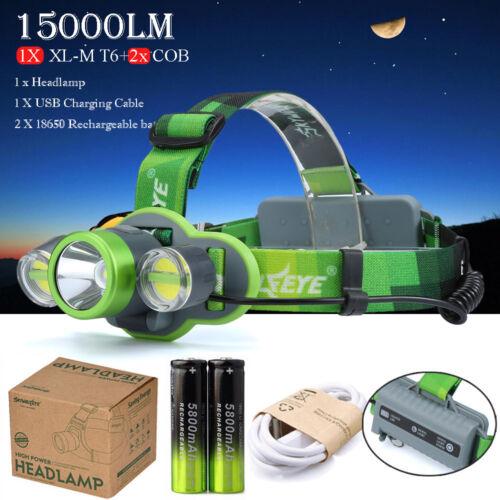 Hunting 30W 15000LM T6+2x COB LED Headlamp Flashlight 18650 USB Charger Battery