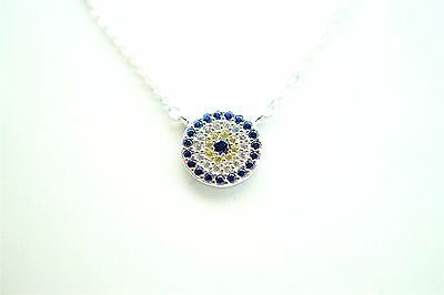 925 STERLING SILVER BLUE EVIL EYE NECKLACE KABBALAH GOOD LUCK FASHION 2017