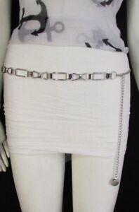 Women-Classic-Silver-Metal-Chains-Bow-Tie-Ribbon-Trendy-Belt-Hip-High-Waist-S-M