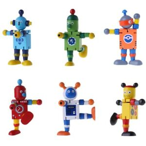 New-6-Styles-Cute-Wooden-Robot-Block-Toys-Baby-Action-Figures-Cute-Model-Toy