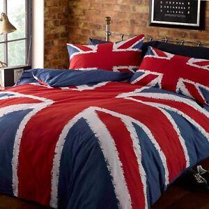 UNION JACK SINGLE DUVET COVER & PILLOWCASE SET UK GB ENGLAND