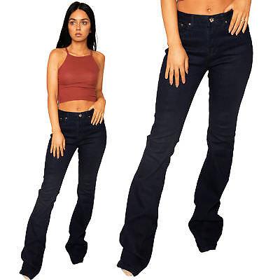 Dolce Nuova Linea Donna Indigo Blue Wide Jeans In Denim Svasato Zampa Si Allarga Molto A Lungo Gamba-mostra Il Titolo Originale Funzionalità Eccezionali
