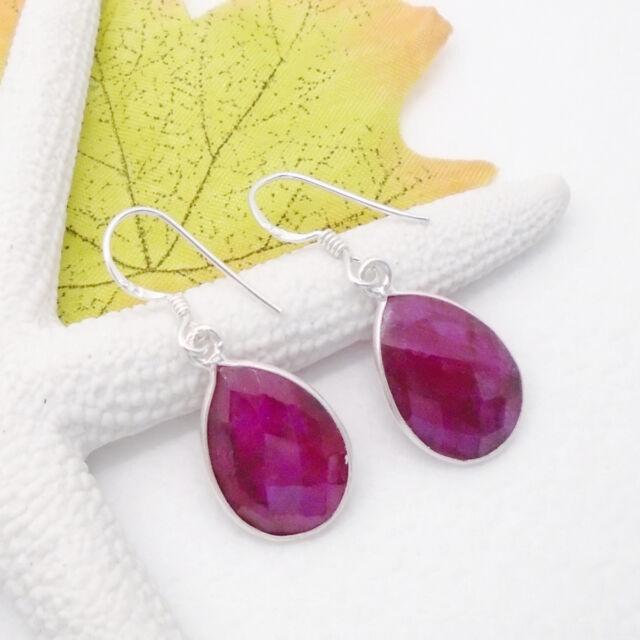 Indischer Rubin rosarot Tropfen Design Ohrringe Ohrhänger 925 Sterling Silber